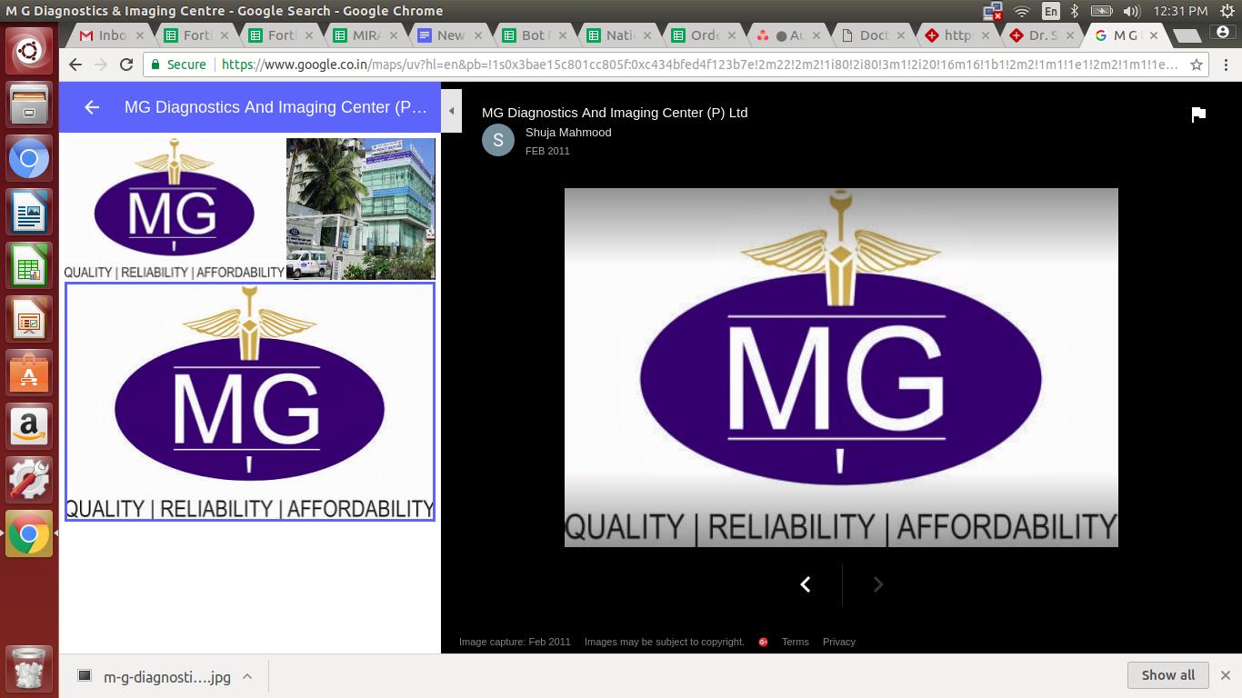 M G Diagnostics & Imaging Centre, Bangalore